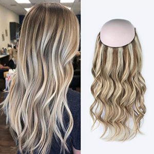 Sassina Halo Hair Extensions Real Human Hair One Hairpiece for a Full Head with Invisible Fish Line Highlight Ash Blonde to Platinum Blonde P8/60# 20 Inch 120 Gram